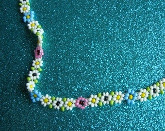 Sweet Vintage Beaded Floral Choker or Child's Necklace