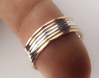 1 Super Skinny Stacking Ring, Knuckle Ring, Thumb Ring, Gold Ring, Stacking Ring, Hammered Ring, Skinny Ring, Thin Rings, Textured Ring
