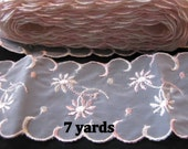 Quinceanera Lace Trimming Embroidered Organza Trim Wide Sheer Pink Ivory Flowers