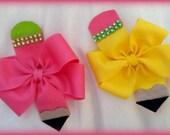 Pencil Hair Bow...Uniform Hair Bow...Back to School Hair Bow...Navy hair bow...yellow hair bow...hot pink hair bow