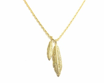 "Tiny Gold ""Double Feather"" Necklace, Native American Feather Necklace - Dainty, Simple, Birthday Gift, Wedding Bridesmaid Gift"