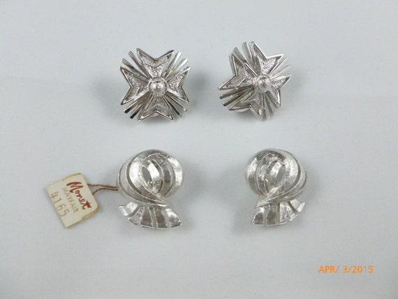 sale monet silver tone clip on earrings lot of 2 earrings