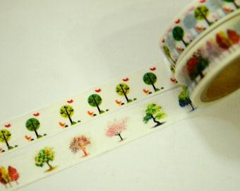 2 Rolls of Japanese Washi Masking Tape:  Trees of Life