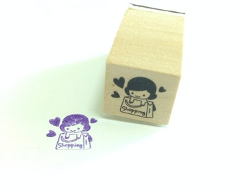 A Cute Wooden Rubber Stamp: Lovely Shopping Girl