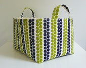 Large Storage Basket Fabric Organizer in Stof of Denmark Pure Vine Stripe in Lime and Navy - Gift Basket - Choose Size
