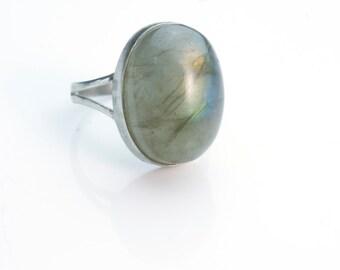 stone ring,  labradorite ring, copper ring, gemstone ring, statement ring, chunky bubble stone ring, bezel ring-7.5