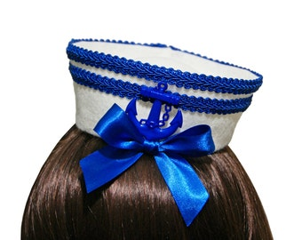 Sweet Royal Blue Striped Bow and Anchor Mini Sailor Hat