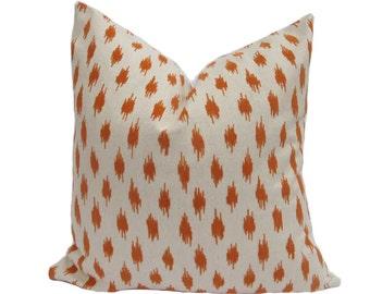 Orange Velvet Ikat Pillow - Ready to ship!
