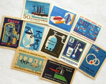 10 Blue Vintage Matchbox Labels - Old Czech Match Box Labels in Shades of Blue - Czechoslovakia - Small Paper Ephemera
