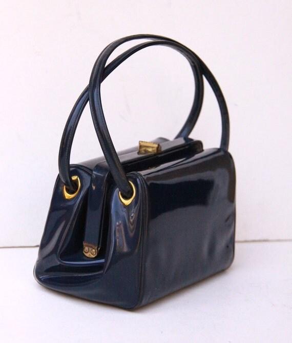 Vintage Navy Blue Patent Leather Purse - Brass Frame Handbag