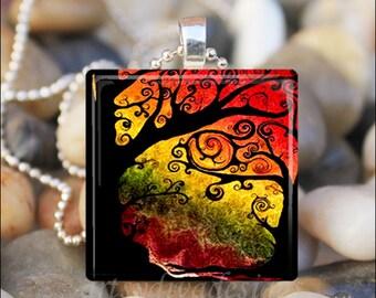 SUNSET AUTUMN TREES Fall Tree Leaves Autumn Colors Glass Tile Pendant Necklace Keyring