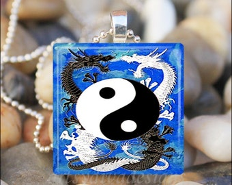 DRAGON YIN YANG Chinese Dragons Yin and Yang Glass Tile Pendant Necklace Keyring