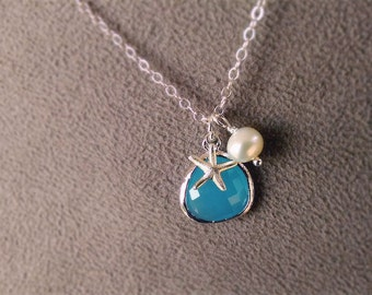 Aqua Blue Starfish Necklace in Silver - Ocean Blue with Pearl - Sterling Rhodium - Beach Jewelry - Beach Bridesmaid Necklaces Gift Set