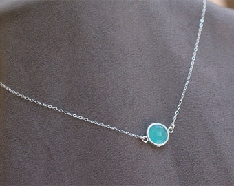 Aqua Blue Stone Necklace - Layering Necklace - Faceted Aqua Blue Dot in Silver - Classic Necklace - Light Blue Bridesmaid Jewelry