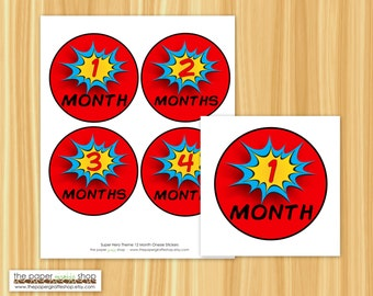 Superhero Onesie Stickers | Comic Book Onesie Stickers | Monthly Onesie Stickers | Monthly Photo Banner | Photography Prop