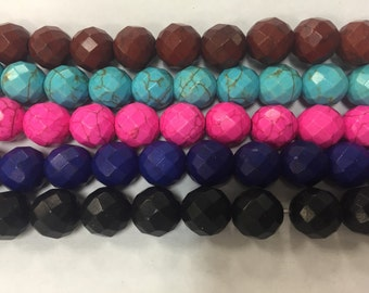 12mm howlite round beads, faceted , 42beads