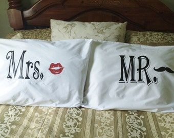 His and Hers Pillow cases, Mr & Mrs Pillow cases, Couples Pillowcases, Couples pillows, Couples pillow case sets, Mustache pillow cases