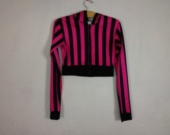 pink/black cropped jacket size S