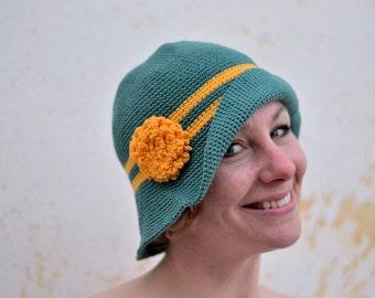 Woman's sun cloche, summer wide brim hat, cotton crochet hat, ocean green and yellow