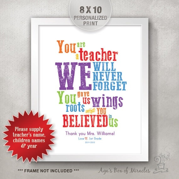 Student Thanking Teacher Quotes: Items Similar To Teacher Appreciation Personalized Print