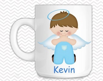 Kneeling Angel Blue Kids Mug - Personalized Kneeling Angel Mug - Customized Mug - Melamine Cup - Personalized Kids cup