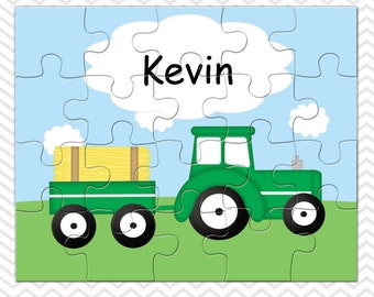 Tractor Personalized Puzzle, Personalized Tractor Puzzle, Personalized Kids Puzzle