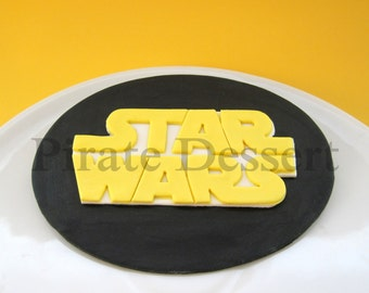 Edible Cake Topper STAR WARS LOGO -Star Wars cake Topper -Jedi Cake -Star Wars Cake -May the force be with you -Fondant cake topper(1 piece)
