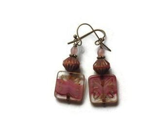 Pink Picasso Czech Glass Beaded Earrings with Antiqued Bronze/ Pink Earrings/ Beaded Earrings/ Boho Earrings/ Czech Glass