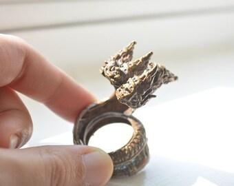Three heads Naga ring (a great cobra-like snake) in coating brass vintage