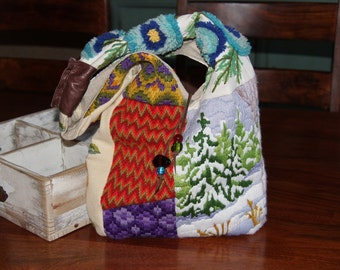 SALE Needlepoint Hobo Bag