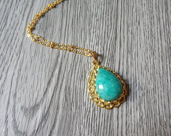 golden plate drop shape handmade blue amazonite pendant necklace jewelry