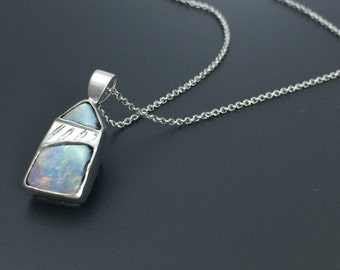 Boulder opal necklace rustic stone jewelry boulder opal for Jewelry stores boulder co