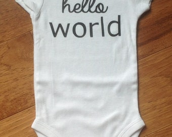 DIY Hello World Vinyl  Iron On Words ONLY Bodysuit Shirt Applique Infant Newborn Outfit