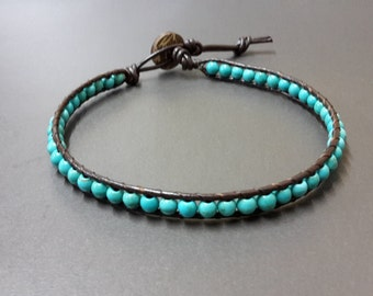 Sort  tablets  Turquoise  Leather Anklet