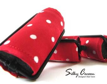 Red & White Polka Dot Foam Hair Roller Covers 6 Jumbo or Set of 12