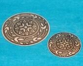 Vintage Silvertone Brass Medallion Stylized Floral Design, Antique Silver with Black, Hidden Pendant Bail and Brooch Pin Bail - Destash