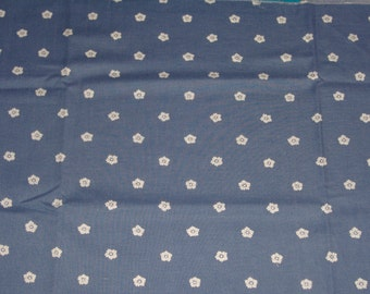 Fat Quarter Steel Blue Cotton Fabric with Small White Posies - 18 Inches x 22 Inches - Quilting, Sewing, Apparel, Beads - So Many Uses