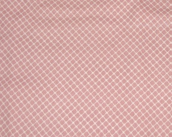 Fat Quarter Cream Lattice on Muted Coral Cotton Fabric - 20 Inches x 22 Inches - Quilting, Sewing, Apparel, Beads - So Many Uses
