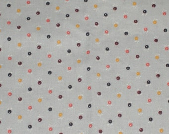 Fat Quarter Multi Colored Round Flowers on Gray Cotton Fabric, Red, Gold, Black, Brown - 18 Inches x 22 Inches - Quilting, Sewing, Apparel