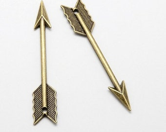 Arrow Pendants Bulk Pendants Charms Antiqued Bronze Arrows 50 pieces 62mm PREORDER