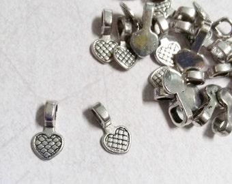 Bails Glue On Bails Heart Bails Antiqued Silver Bails Wholesale Bails Bulk Bails Tile Bails 16mm 50pcs