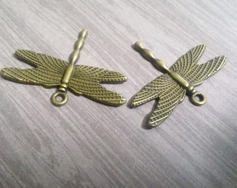Dragonfly Pendants Antiqued Bronze Dragonflies 28mm 50pcs Wholesale Charms Pendants