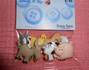 Funny Farm Animal Buttons