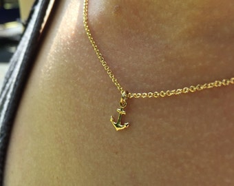 Tiny gold filled anchor necklace - Tiny anchor necklace in gold or silver - Gold anchor pendant