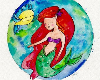 Ariel and Flounder from The Little Mermaid, Disney Inspired Archival Inkjet Print 8.5x11 inch ink art drawing painting