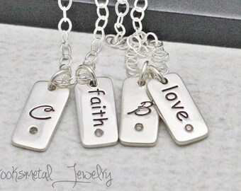 Personalized Charm Necklace Hand Stamped Diamond Initial Necklace
