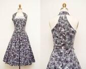 Vintage 1950s Cotton Grey & Purple Floral Printed Dress / Racerback Neckline / Full Skirt / Size Medium