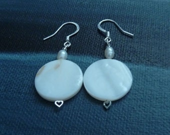 Mother of Pearl on Pearl Heart pin earrings
