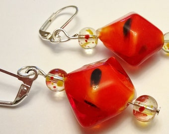 Red Lampwork Bead & Clear Glass Beads Splashed w/ Red and Orange Colored Dangle Leverback Earrings