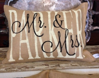 Personalized mr&mrs pillow, burlap pillow, custom pillow